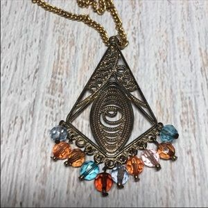 Vintage Barrel, Boho Triangle Necklace N209